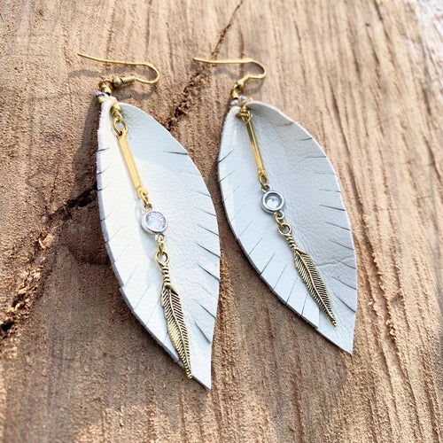 Leather Feather Earrings - White with gold and crystal
