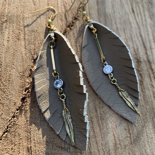 Leather Feather Fringe Earrings - Beige with gold and crystal