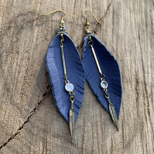 Leather Feather Fringe Earrings - Periwinkle with gold and crystal