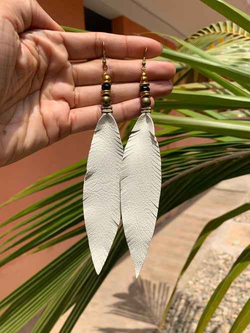 Leather Feather Tassel Earrings - White, Long & Skinny with brass and onyx detail