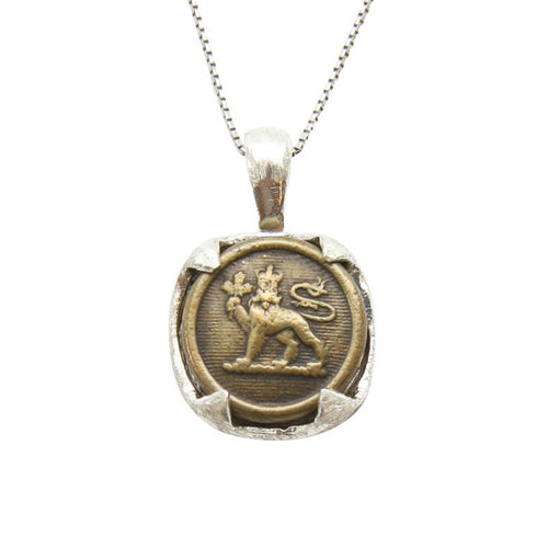 Vintage Canadian Medallion Necklace Lion Close up