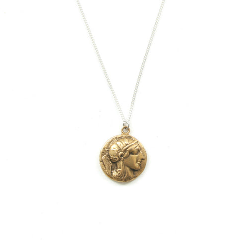 Laborde Jewelry Gracien Medallion Athena Silver Brass Front