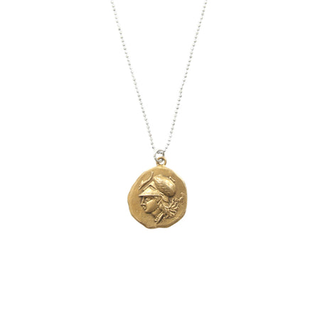 Ancient Greek Medallion Necklace - Alexander The Great On Throne