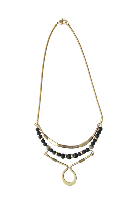 Hapi Onyx Pyrite Industrial Necklace