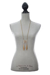 Garai Moonstone Vintage Brass Necklace Modeled
