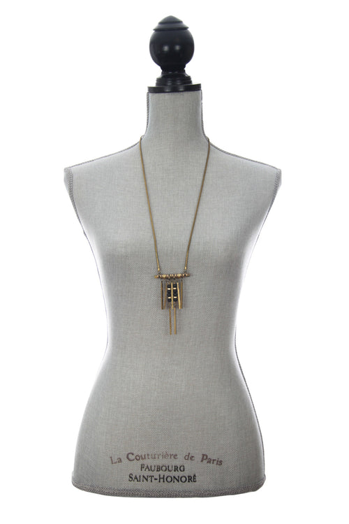 Laborde Designs Jewelry Hapi Onyx Pyrite Industrial Necklace Modeled