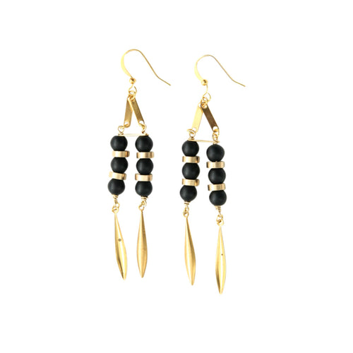 Laborde Designs Jewelry Maat Onyx Vintage Earrings