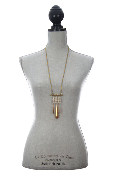 Laborde Designs Jewelry Kamilah Moonstone Vintage Brass Necklace Modeled