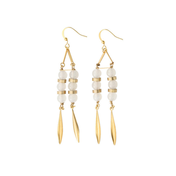 Net Moonstone Vintage Earrings