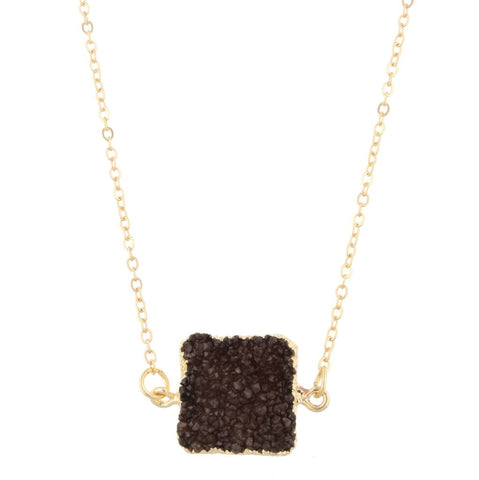 Brown Druzy Square Pendant Necklace