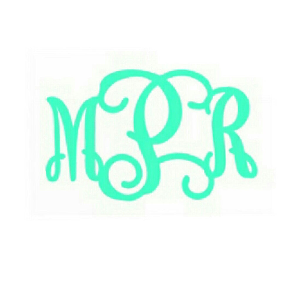 Vines Monogram Vinyl Sticker/Decal (Solid Color)