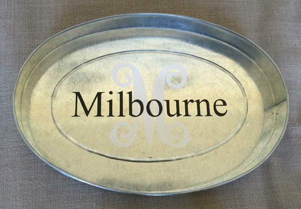White Oval Galvanized Tray