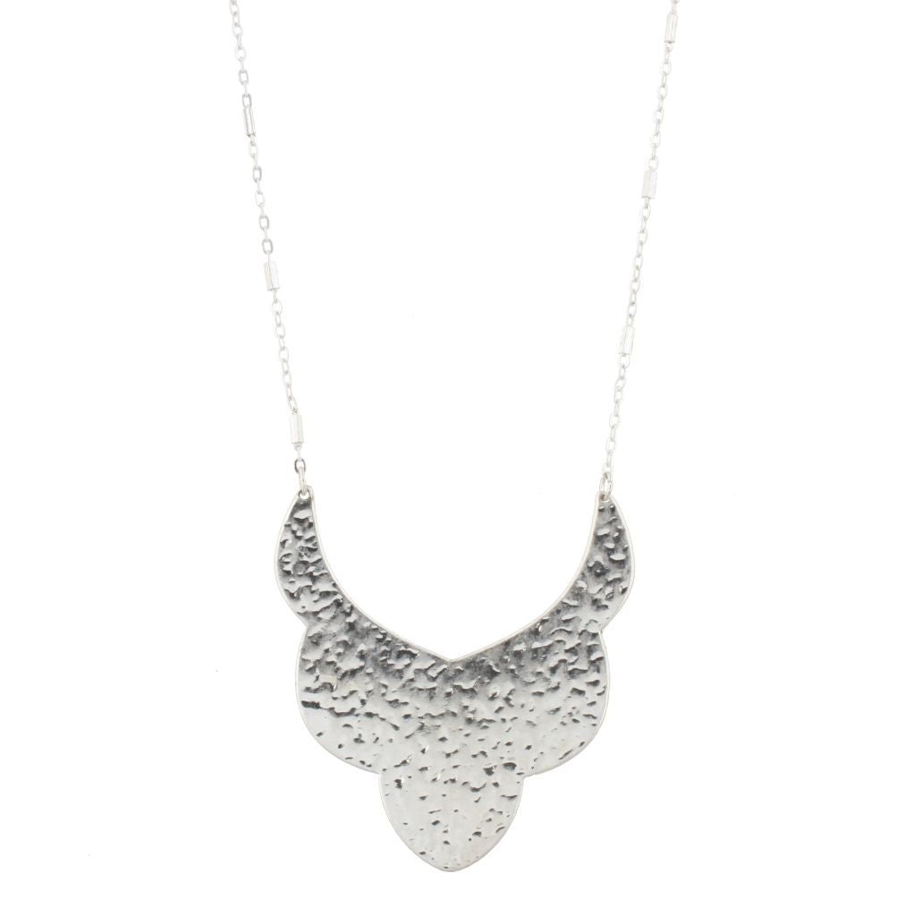 Silver Bib with Silver Chain Necklace