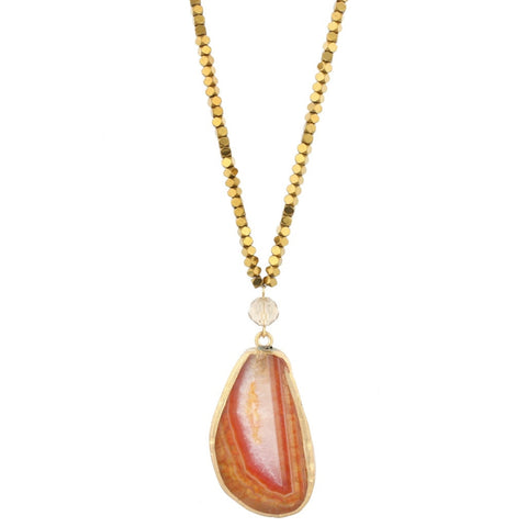 Light Brown Agate Pendant Necklace