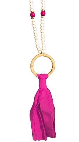 Bamboo Tassel Necklace - Pink