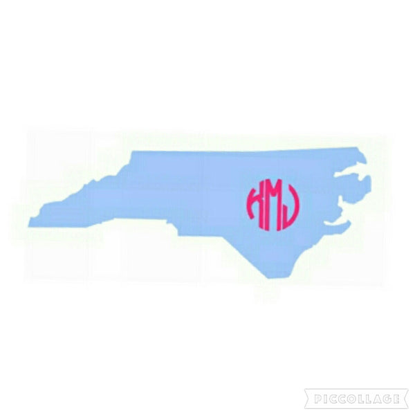 State of NC with a Monogram Vinyl Sticker/Decal (Solid Color)