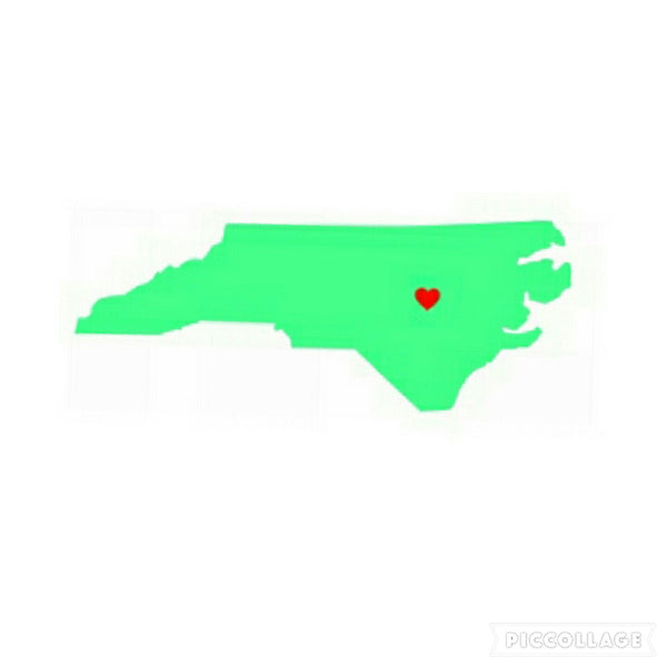 State of NC with a Red Heart Vinyl Sticker/Decal (Solid Color)