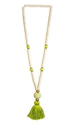 Ceramic Bead Lime Tassel Necklace