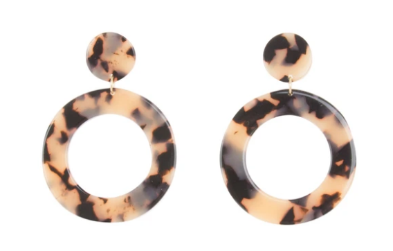 Circle Blonde Tortoise Earrings