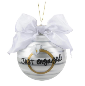 Just Engaged Ring Frosted Ornament