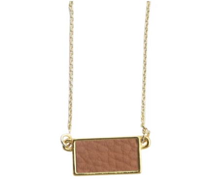 Pebble Grain Rectangle Necklace - Camel