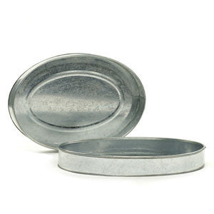 Silver Oval Galvanized Tray