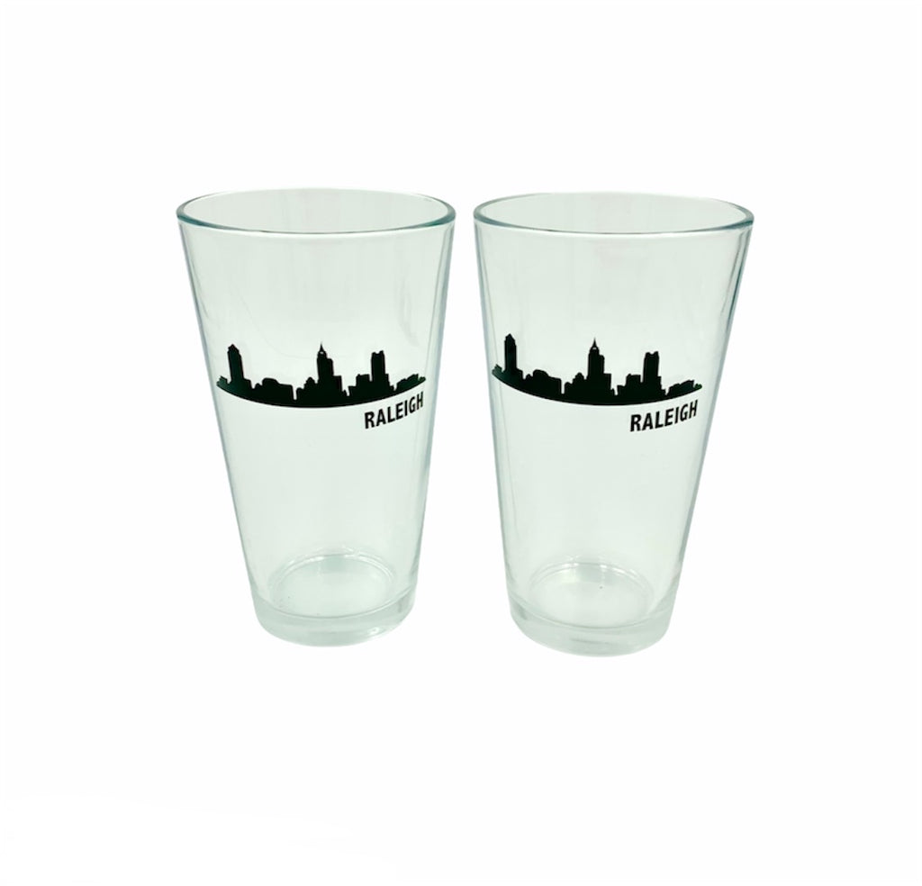 Raleigh Skyline Pint Glasses