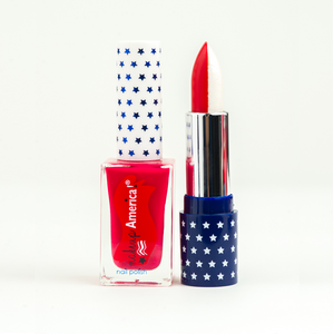 "Sister Set: ""Star Spangled Independence"" (Red/White Lipstick + Red Nail Polish)"