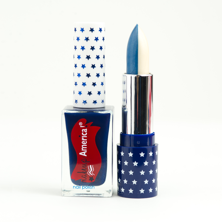 Lady Liberty Sister Set: Split Blue/White Lipstick and Navy Nail Polish