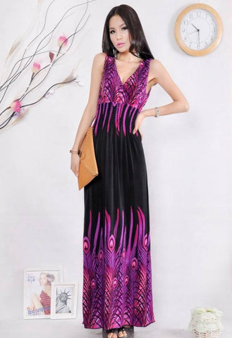 Buyvel V-Neck Peacock Pattern Long Gown