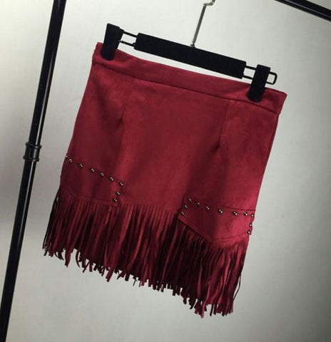 Fringed Embellished Suede Mini Skirt