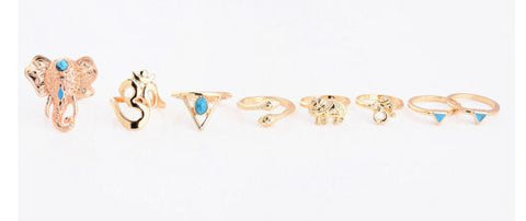Eight Rings Set, Antique Silver and Golden