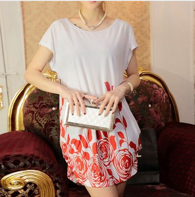 Long Rose Floral Pattern New Ladies' White Top