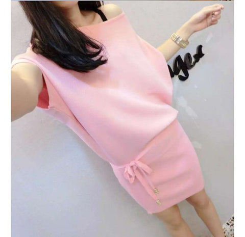 Pink 2016 summer new Korean fashion, Ice Silk, short-sleeved knit dress with belt