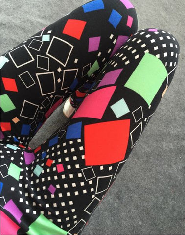 Geometry Pattern Contrast Ladies's Legging