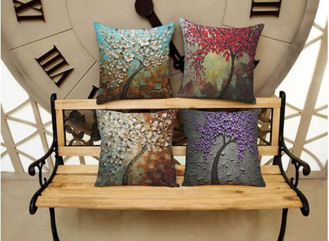 Multi Highlighted Trees Linen cotton Cushion Cover