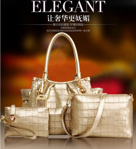 Elegant Crocodile Check Bag Set