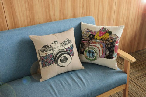 Through the lens Vintage Highlighter Cushion Covers Cotton Linen Print 45cmx45cm