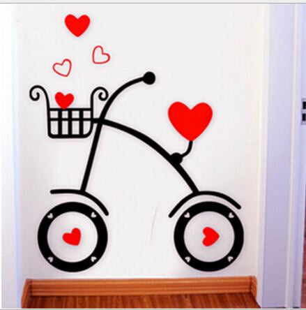 Buyvel Bicycle 3d Acrylic Crystal Embossed Wall Stickers