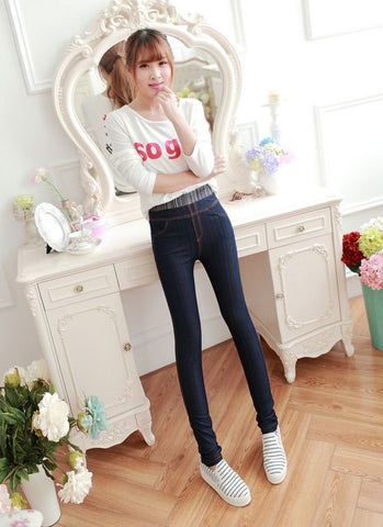 Grey And Blue Elastic Comfortable Jeggings