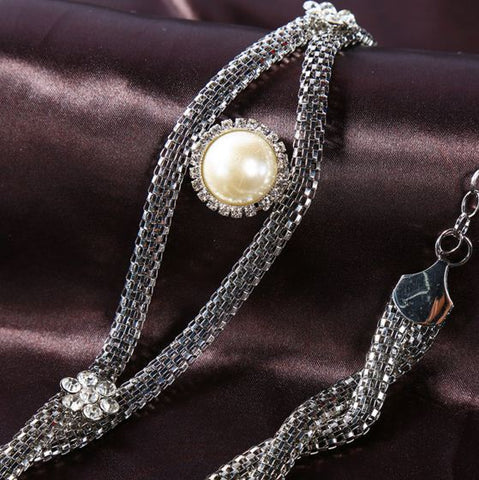 Trendy Pearl Chain Silver Unique Belt