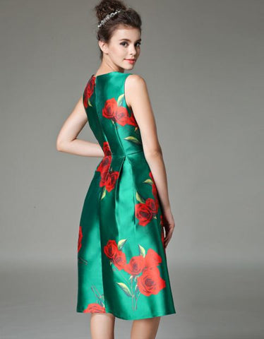 Big Flower Party Wear Ice Silk Dress