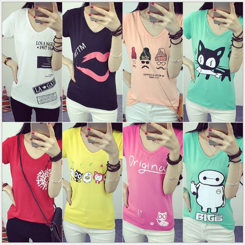 Day Night Fashion Printed T-Shirt Tops Short Sleeve
