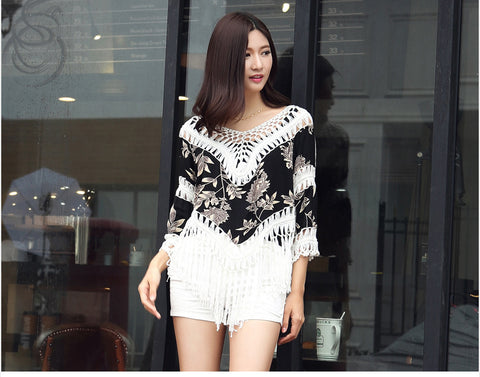 Buyvel Leaf Pattern Fringes Shrugs