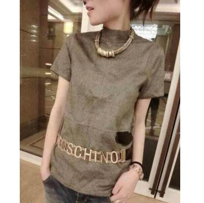 Moschino Adjustable Brass Logo Letter Belt