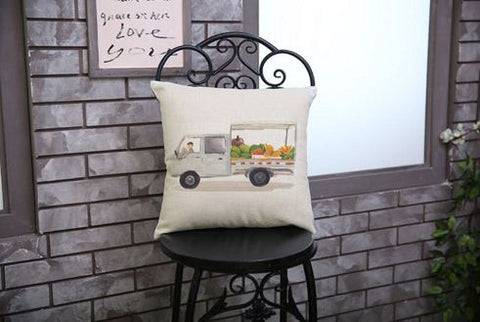 van with fruits cushion covers