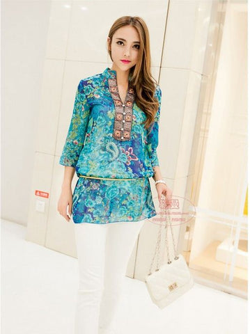 Blue Traditional Pattern New Ladies' Top