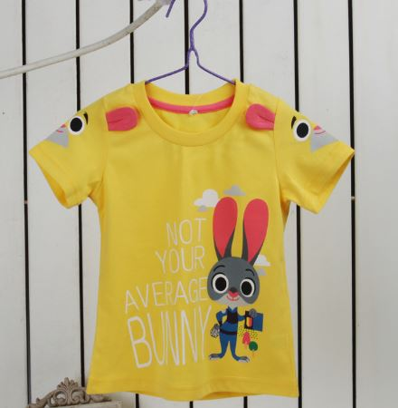 Crazy Animals Child City T-Shirt Zootopia 2016 Judy rabbit baby cotton short-sleeved summer childre