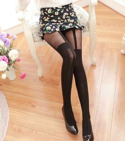 Women Thigh High Black Stockings