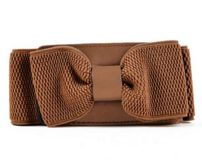 Stretchable Classy Brown Bow Belt with button on Back